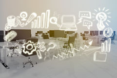 Imagem composta da imagem composta dos ícones 3d do negócio Fotos de Stock Royalty Free