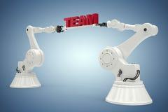 Imagem composta da imagem composta dos braços robóticos com texto 3d da equipe Fotografia de Stock Royalty Free