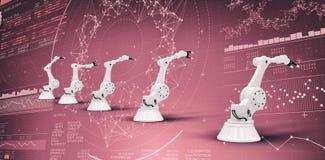 Imagem composta da imagem composta dos braços robóticos 3d Foto de Stock