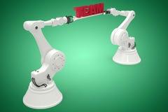 Imagem composta da imagem composta dos robôs com texto 3d Imagens de Stock