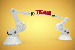 Imagem composta da imagem composta dos robôs com texto 3d da equipe Imagem de Stock Royalty Free