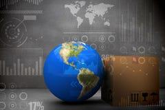 Imagem composta da imagem 3d da terra do planeta pela caixa de cartão Imagens de Stock