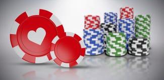 Imagem composta da imagem 3d do símbolo vermelho do casino com símbolo dos corações Foto de Stock