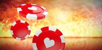 Imagem composta da imagem 3d do símbolo vermelho do casino com símbolo dos corações Imagens de Stock
