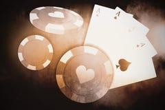 Imagem composta da imagem 3d do símbolo vermelho do casino com símbolo dos corações Fotografia de Stock Royalty Free