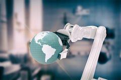 Imagem composta da imagem da máquina que guarda o globo 3d Fotos de Stock Royalty Free