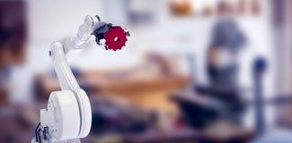 Imagem composta da imagem digital da mão da hidráulica com engrenagem vermelha 3d Fotografia de Stock Royalty Free