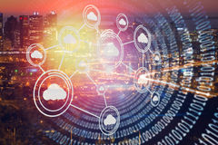 Imagem composta da imagem digitalmente composta da relação tecnologico 3d Imagem de Stock