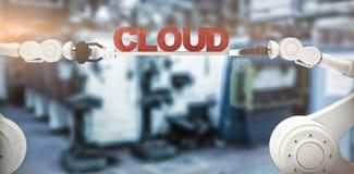 A imagem composta da imagem digitalmente composta das mãos robóticos que guardam a nuvem text Fotos de Stock