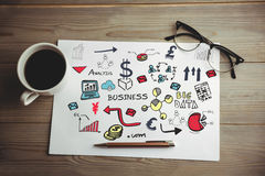 Imagem composta da imagem digitalmente gerada de vários ícones do negócio Imagem de Stock