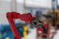 Imagem composta da imagem digitalmente gerada do braço vermelho do robô com garra preta 3d Foto de Stock Royalty Free