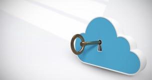 Imagem composta da imagem digitalmente gerada do cacifo azul na forma da nuvem com chave 3d Imagens de Stock