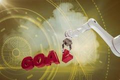 Imagem composta da imagem do braço robótico que arranja o texto 3d do objetivo Fotos de Stock
