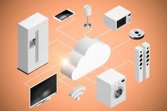 Imagem composta da imagem do gráfico de computador do ícone 3d da nuvem e dos aparelhos eletrodomésticos Fotografia de Stock Royalty Free