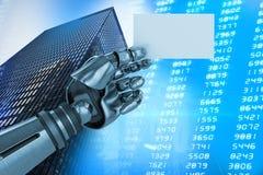 Imagem composta da imagem do gráfico de computador do cartaz robótico 3d da terra arrendada de braço Imagens de Stock