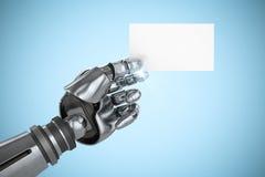 Imagem composta da imagem do gráfico de computador do cartaz robótico 3d da terra arrendada de braço Foto de Stock Royalty Free