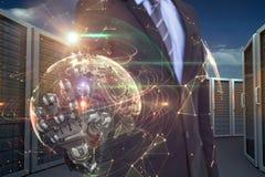 Imagem composta da imagem do gráfico de computador do homem de negócios com mão robótico 3d Fotografia de Stock Royalty Free