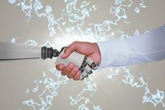 Imagem composta da imagem do gráfico de computador do homem de negócios e do robô que agitam as mãos Imagem de Stock