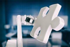 Imagem composta da imagem gerada digital do robô com parte 3d da serra de vaivém Imagem de Stock Royalty Free