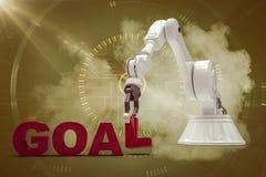 Imagem composta da imagem gráfica do braço robótico que arranja o texto 3d do objetivo Fotografia de Stock Royalty Free