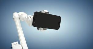 Imagem composta da imagem gráfica do robô que mostra o telefone esperto 3d Imagem de Stock Royalty Free