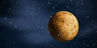 Imagem composta da lua completa digitalmente gerada do ouro foto de stock