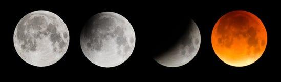 Imagem composta da lua durante um eclipse lunar total Imagem de Stock Royalty Free