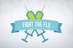 Imagem composta da luta a gripe fotografia de stock