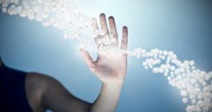 Imagem composta da mão da tela invisível tocante 3d da mulher Fotografia de Stock Royalty Free