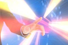 Imagem composta da mão do homem de negócios que aponta algo Fotografia de Stock