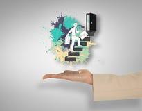 Imagem composta da mão fêmea que apresenta etapas de escalada do homem de negócios Fotografia de Stock