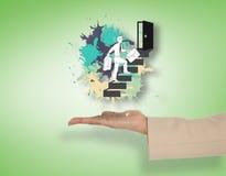 Imagem composta da mão fêmea que apresenta etapas de escalada do homem de negócios Fotos de Stock Royalty Free