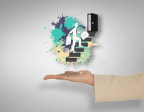 Imagem composta da mão fêmea que apresenta etapas de escalada do homem de negócios Foto de Stock Royalty Free