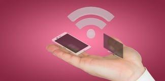Imagem composta da mão que apresenta 3d Imagens de Stock