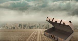 Imagem composta da mala de viagem aberta ilustração do vetor