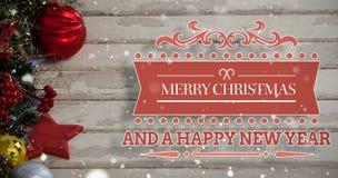 Imagem composta da mensagem do Feliz Natal Fotografia de Stock Royalty Free