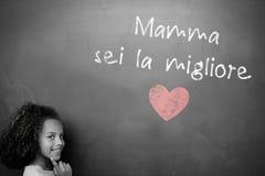 Imagem composta da mensagem italiana do dia de mães ilustração royalty free