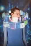 Imagem composta da mulher bonita que está com olhos fechados 3d Fotos de Stock Royalty Free