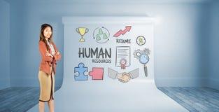 Imagem composta da mulher de negócios de sorriso com braços cruzados Fotografia de Stock