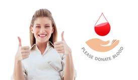 Imagem composta da mulher de negócios que sorri na câmera com polegares acima Fotografia de Stock Royalty Free
