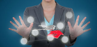 Imagem composta da mulher de negócios que usa a tela digital 3D Imagem de Stock