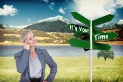 Imagem composta da mulher de negócios que pensa com o dedo na cabeça Fotografia de Stock Royalty Free