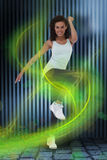 Imagem composta da mulher do ajuste que faz o exercício aeróbio Foto de Stock Royalty Free