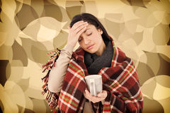Imagem composta da mulher doente que tem uma enxaqueca fotos de stock
