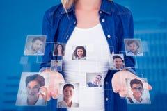 Imagem composta da mulher que apresenta suas mãos fotografia de stock