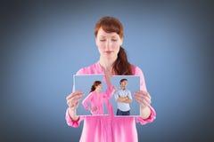 Imagem composta da mulher que discute com o homem insensível Foto de Stock