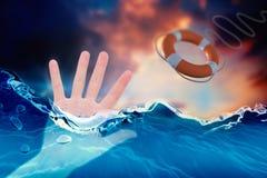Imagem composta da mulher que mostra lhe a mão 3d Imagens de Stock