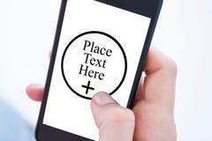Imagem composta da mulher que usa seu telefone celular Fotos de Stock