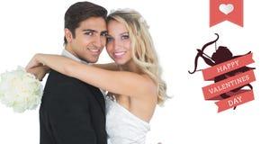 Imagem composta da noiva bonita que abraça seu marido Imagens de Stock