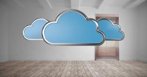 A imagem composta da nuvem dá forma no fundo branco 3d Foto de Stock Royalty Free